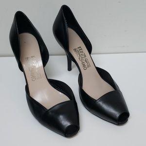 Salvatore Ferragamo Black Leather D'Orsay Peeptoe